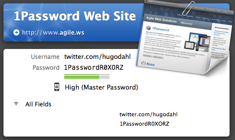 1Password - Secrect information unmasked